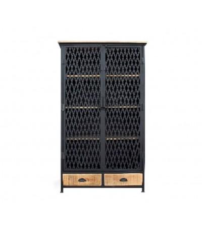 """Buffet haut """"Modesto"""" en métal grillagé et bois design industriel"""