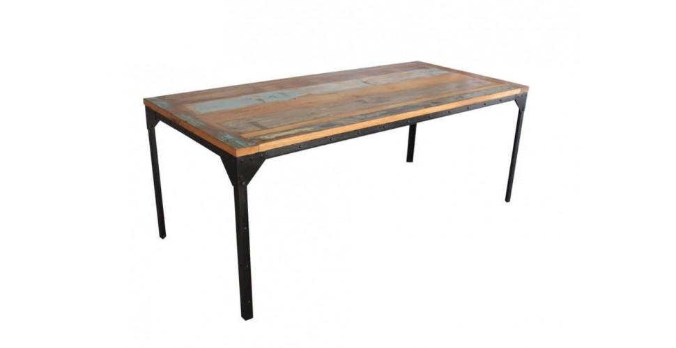"""Table de repas """"Rivets"""" bois coloré et métal, 200 cm"""