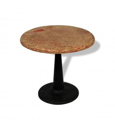 """Table basse ronde """"Bengale"""" bois et métal style usine"""
