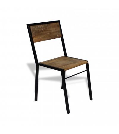 """4 x """"Manufacture"""" Stühle aus schwarzem Metall und Holz im industriellen Stil"""