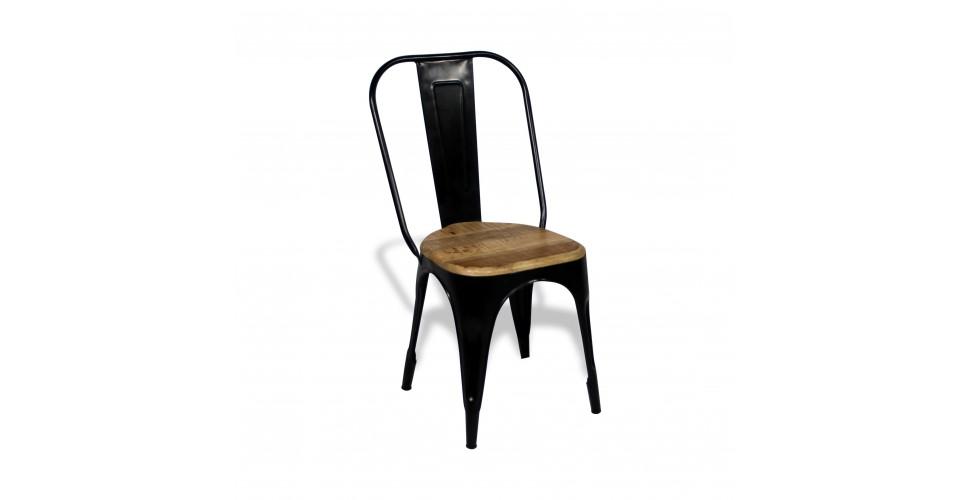 """4 x Chaises """"Factory"""" métal noir et bois, design industriel"""