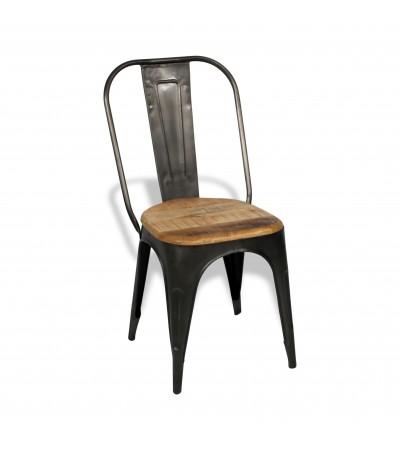 """4 X Chaises métal antique et bois """"Factory"""", style usine"""