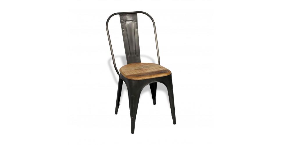 """4 x Antike Metallstuhlen """"Factory"""" und Holz, Fabrik Stil"""