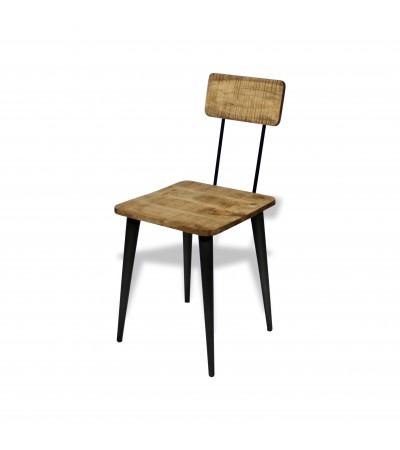 """4 x Chaises """"Atelier"""" métal noir et bois, industriel design"""