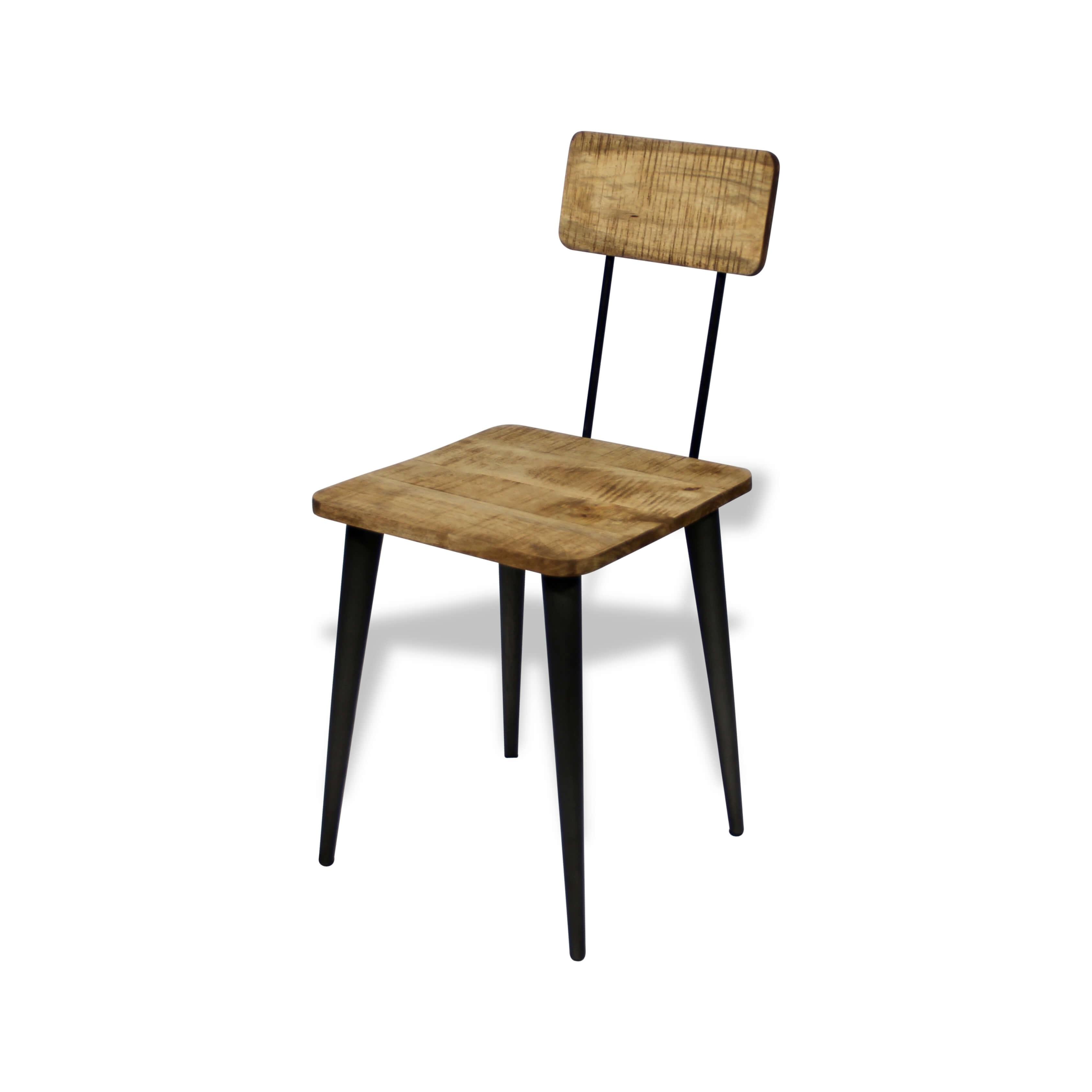 Chaise Bois Et Metal Industriel ensemble de 4 chaises cadre métal noir, assise et dossier