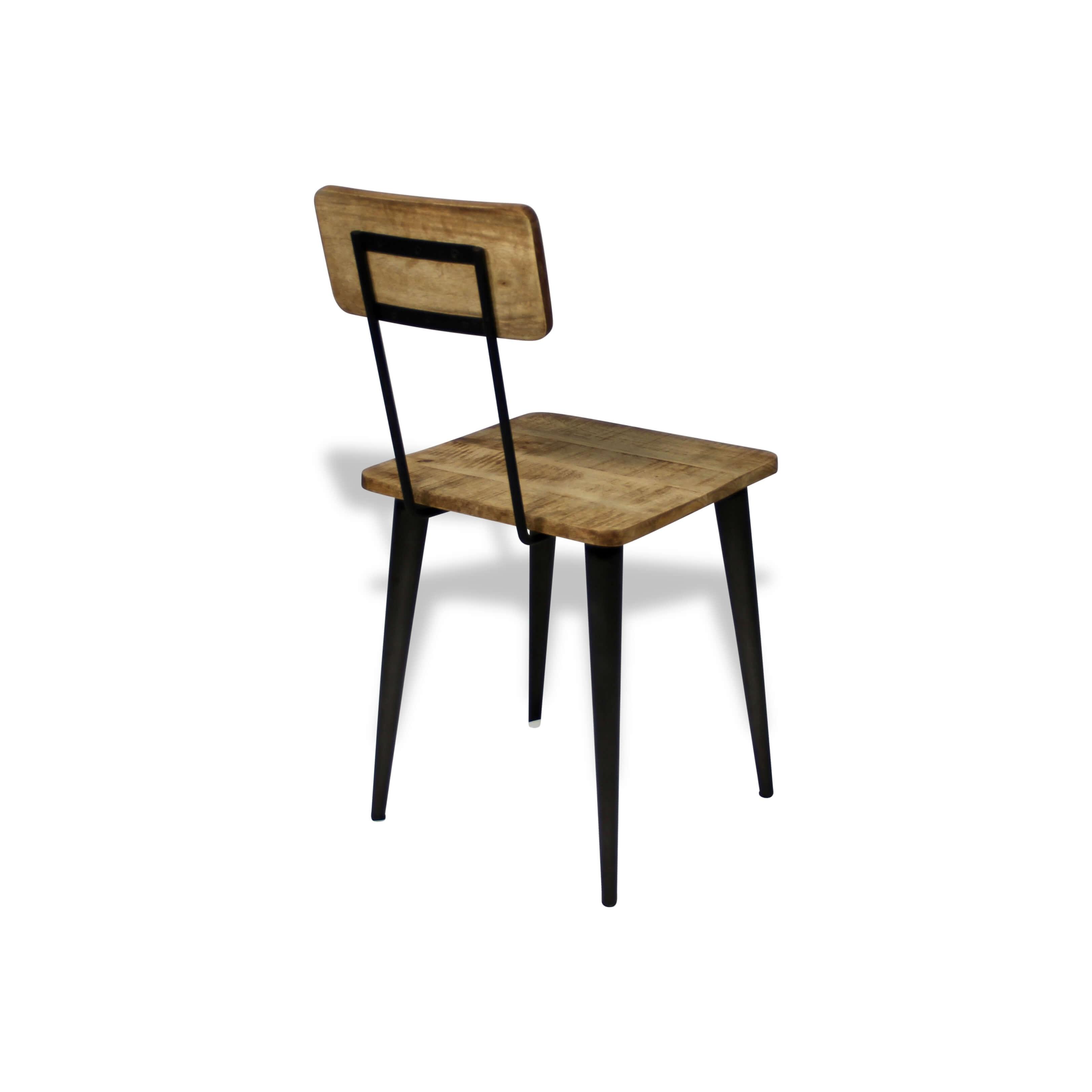 4 X Chaises Atelier Metal Noir Et Bois Industriel Design