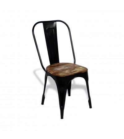 """4 x """"Factory"""" Stühle schwarze Metall und recycelt Holz, Industriedesign"""
