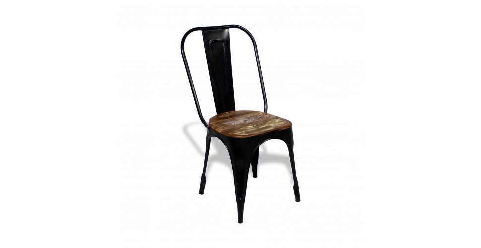 """4 x Chaises """"Factory"""" métal noir et bois recyclé, design industriel"""