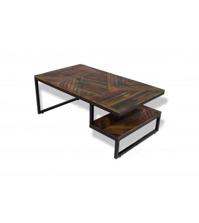 """Table Basse industrielle """"Bhopal"""" bois massif coloré et métal"""
