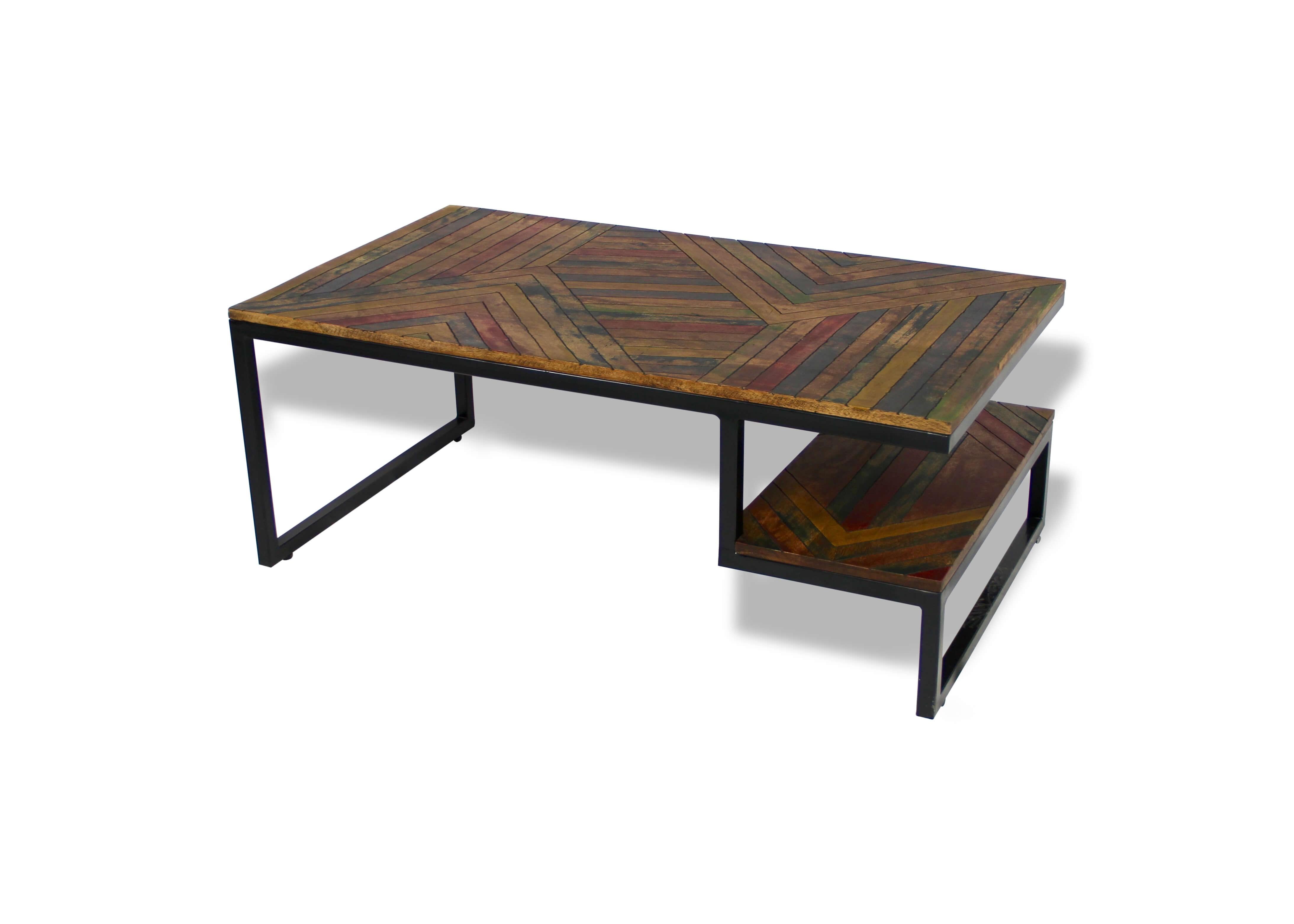 couchtisch zwei tabletts aus recyceltem farbigem holz und. Black Bedroom Furniture Sets. Home Design Ideas