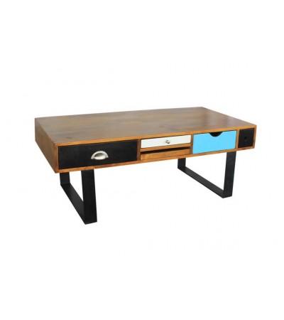 """Table Basse """"Agra"""" en bois patiné et métal"""