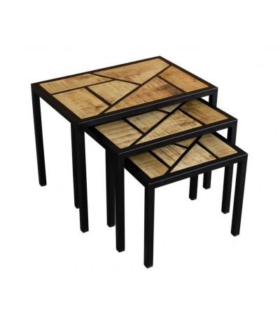 """Table basse gigogne """"Mysore"""" patchwork de bois et métal"""