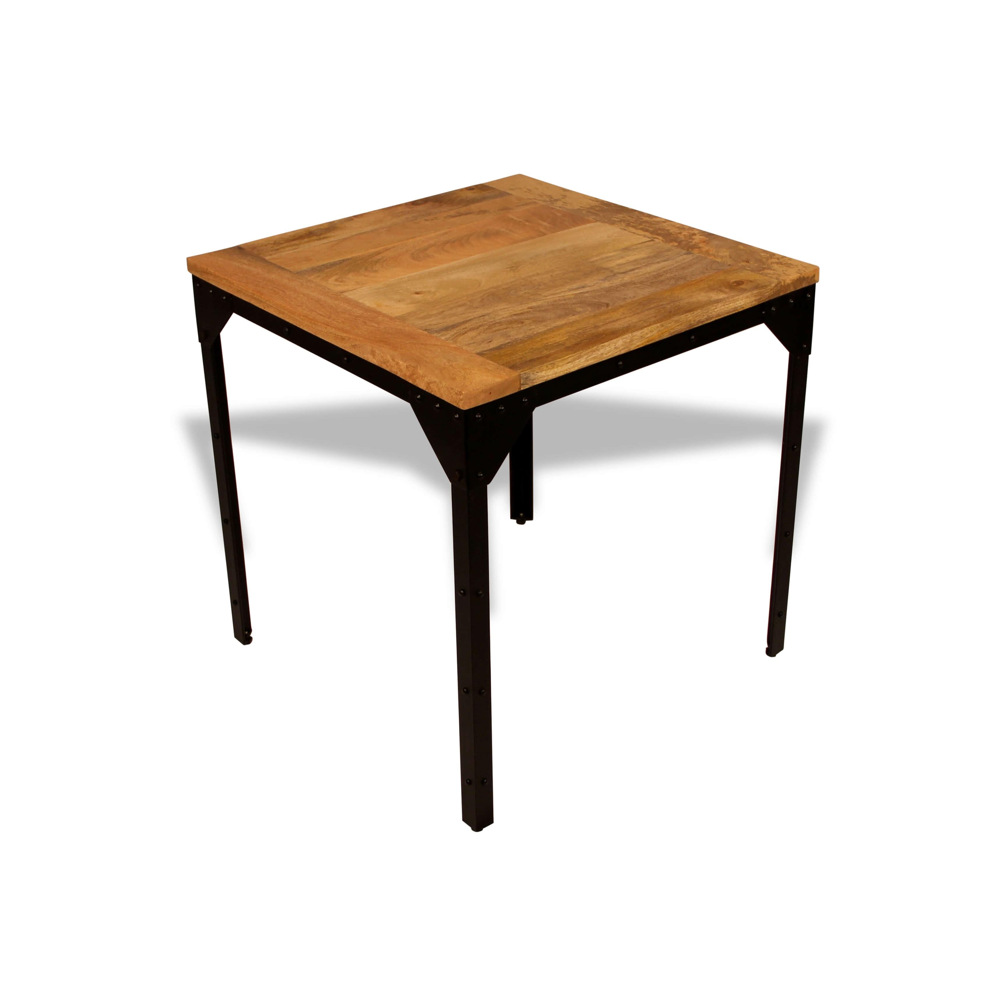Table Bistrot Style Industriel En Métal Avec Rivets Plateau