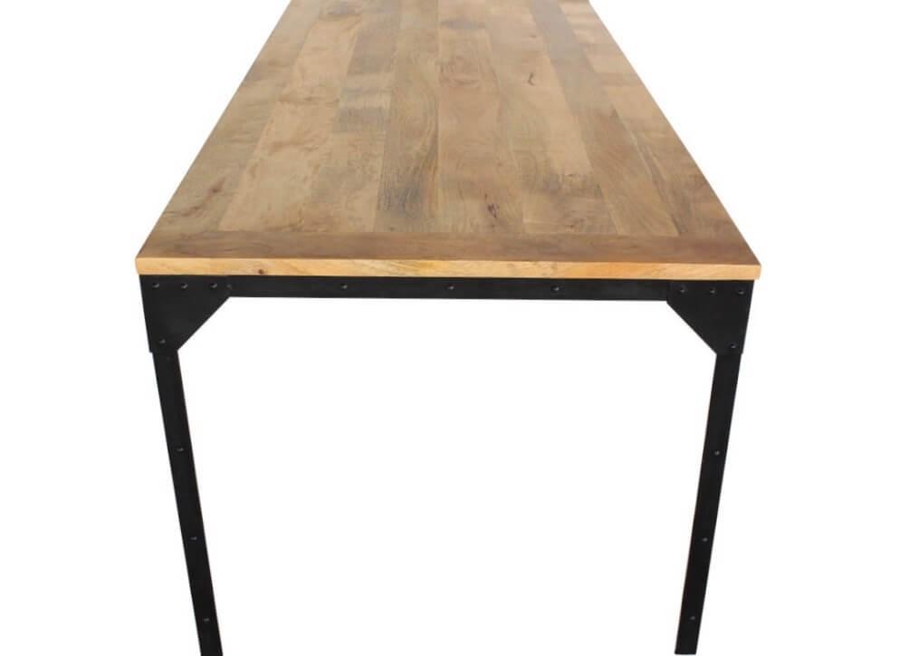 Industrial Style Metall Esstisch Mit Nieten Mango Holzplatte