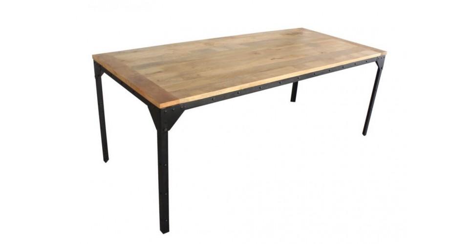 """Table de Repas style industriel métal et bois """"Rivets"""" 170 cm"""