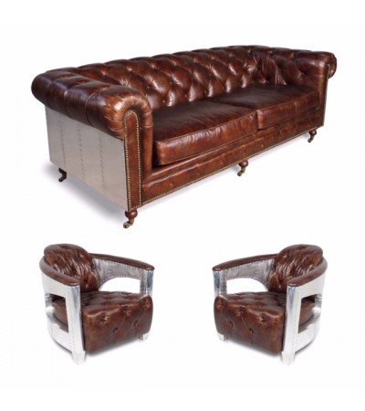 "Canapé Chesterfield ""The First"" + 2 fauteuils ""Jack"" cuir marron, style aviateur"