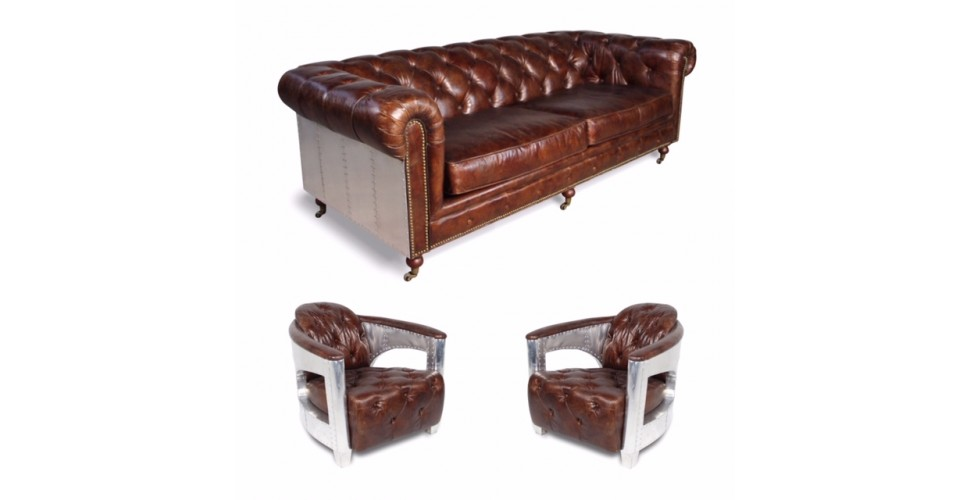 "Canapé Chesterfield ""The First"" + 2 fauteuils ""Edward"" cuir marron"