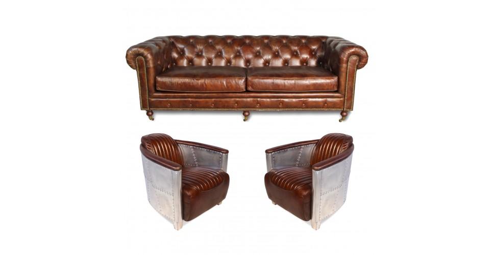 Canapé Chesterfield 3pl + 2 fauteuils aviateur cuir marron