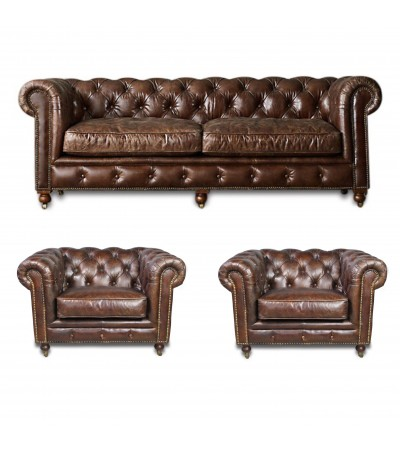"Canapé Chesterfield + 2 fauteuils ""The First"" cuir marron"