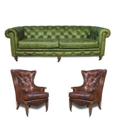 "Canapé Chesterfield Green ""The First"" + 2 fauteuils ""Stuart"" cuir marron"