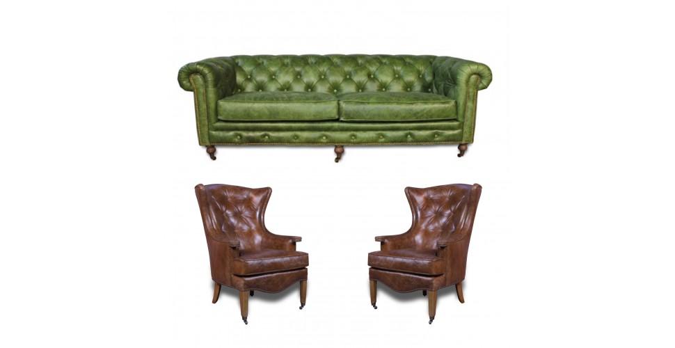 "Canapé Chesterfield Green ""The First"" + 2 fauteuils ""Stuart"" cuir marron"