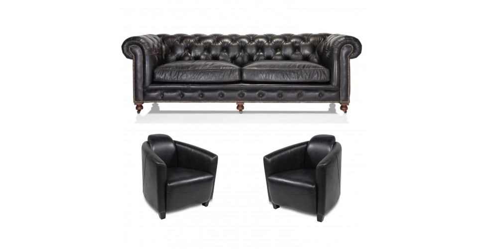 "Canapé Chesterfield ""The First"" + 2 fauteuils ""Edward"" cuir marron"
