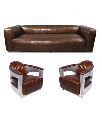 "Sofa ""Lancaster 3 Sitzer und 2 Aviator Sessel ""Chuck"" in Braun Vintage Leder"