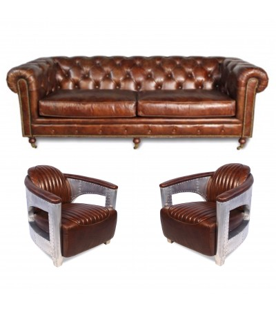 "Canapé Chesterfield ""The First"" + 2 fauteuils ""Chuck"" cuir marron"
