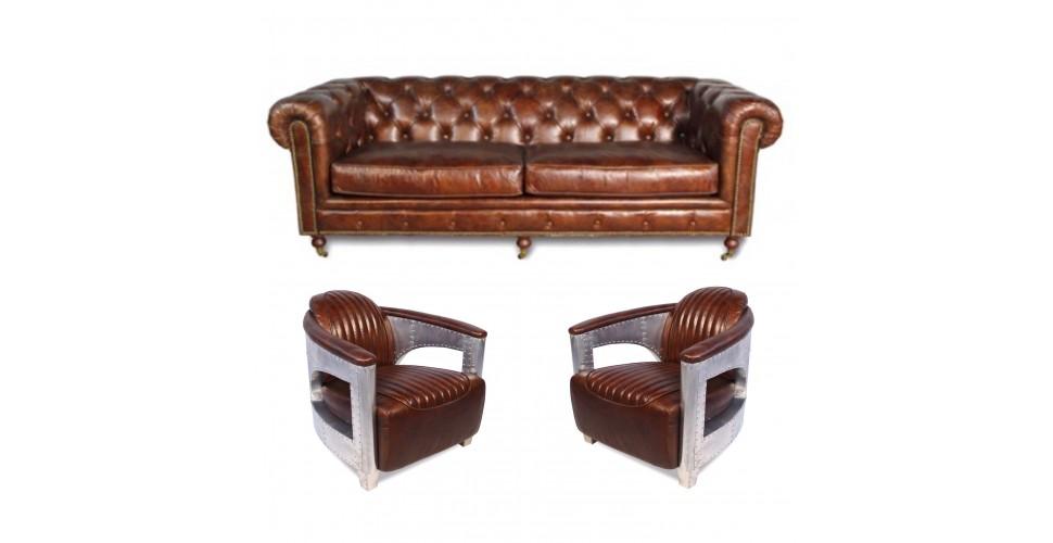 "Canapé Chesterfield ""The First"" + 2 fauteuils ""Chuck"" cuir marron"