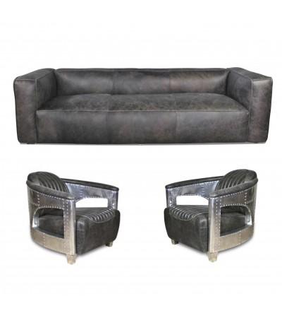 "Sofa ""Lancaster"" 3 Sitzer und 2 Aviator Sessel ""Chuck"" in Graue Vintage Leder"