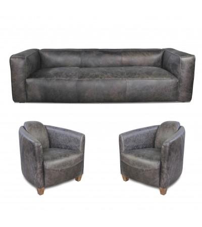 "Sofa ""Lancaster"" 3 Sitzer und 2 Club Sessel ""Andrew"" in Graue Vintage Leder"