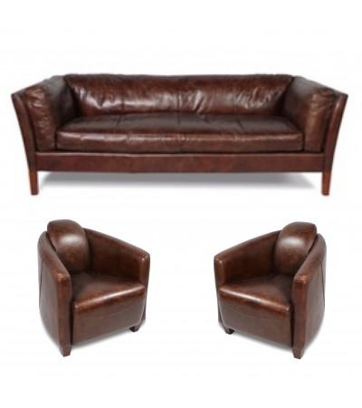 "Sofa ""Clive"" 3 Sitzer und 2 Club Sessel ""Andrew"" in Braun Vintage Leder"