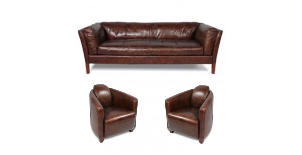 Canapé cuir marron vintage avec 2 fauteuils Club cuir marron vieilli