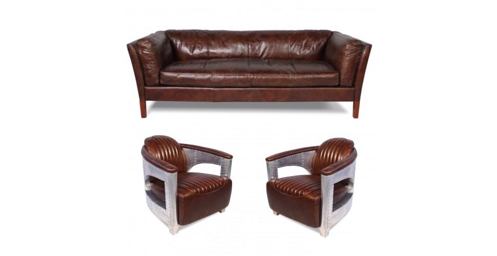 """Sofa """"Clive"""" 3 Sitzer und 2 Aviator Sessel """"Chuck"""" in Braun Vintage Leder"""