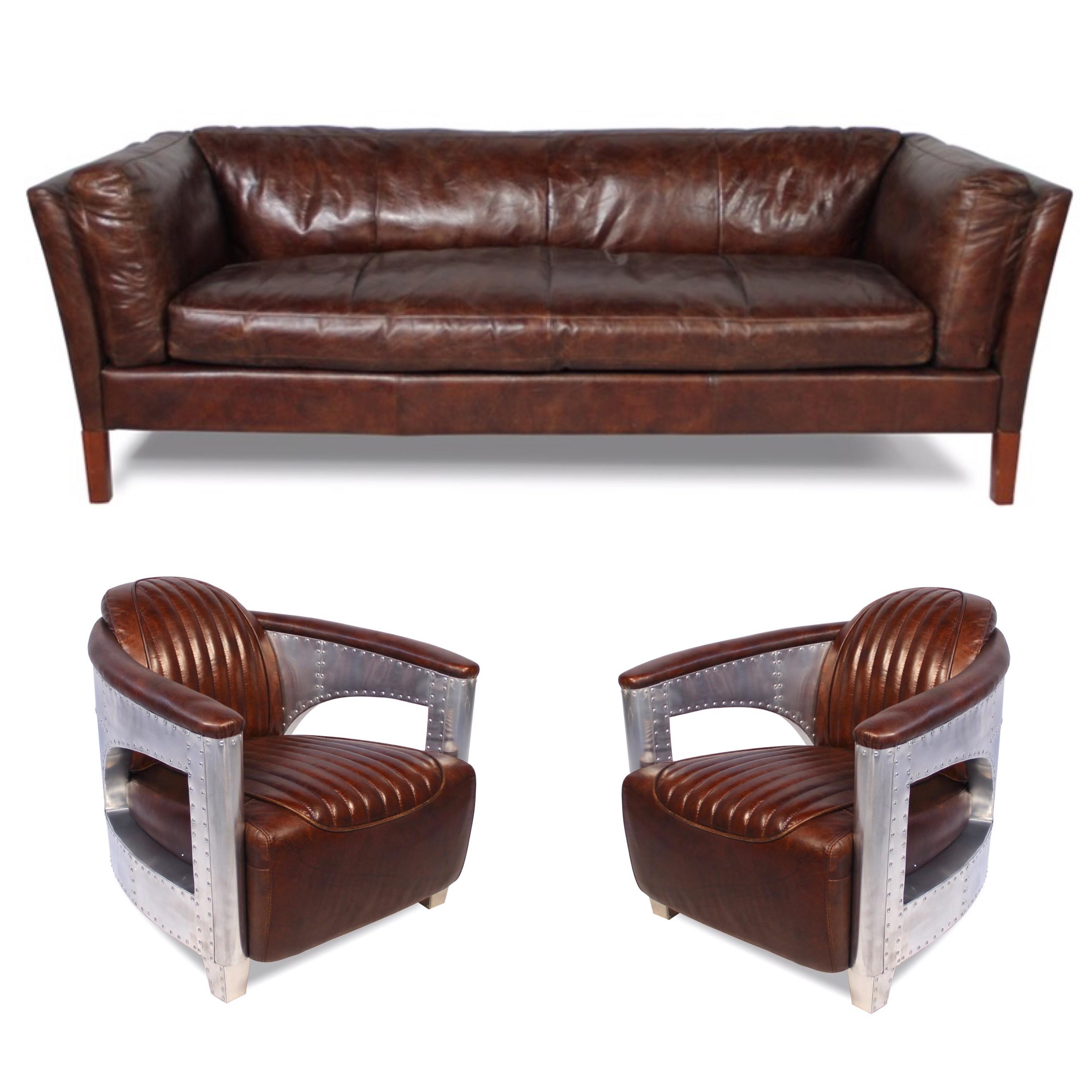 canap cuir marron vieilli avec 2 fauteuils aviateur cuir marron. Black Bedroom Furniture Sets. Home Design Ideas