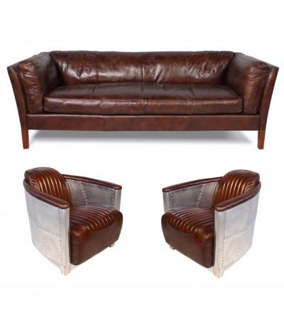 """Sofa """"Clive"""" 3 Sitzer und 2 Aviator Sessel """"Mermoz"""" in Braun Vintage Leder"""