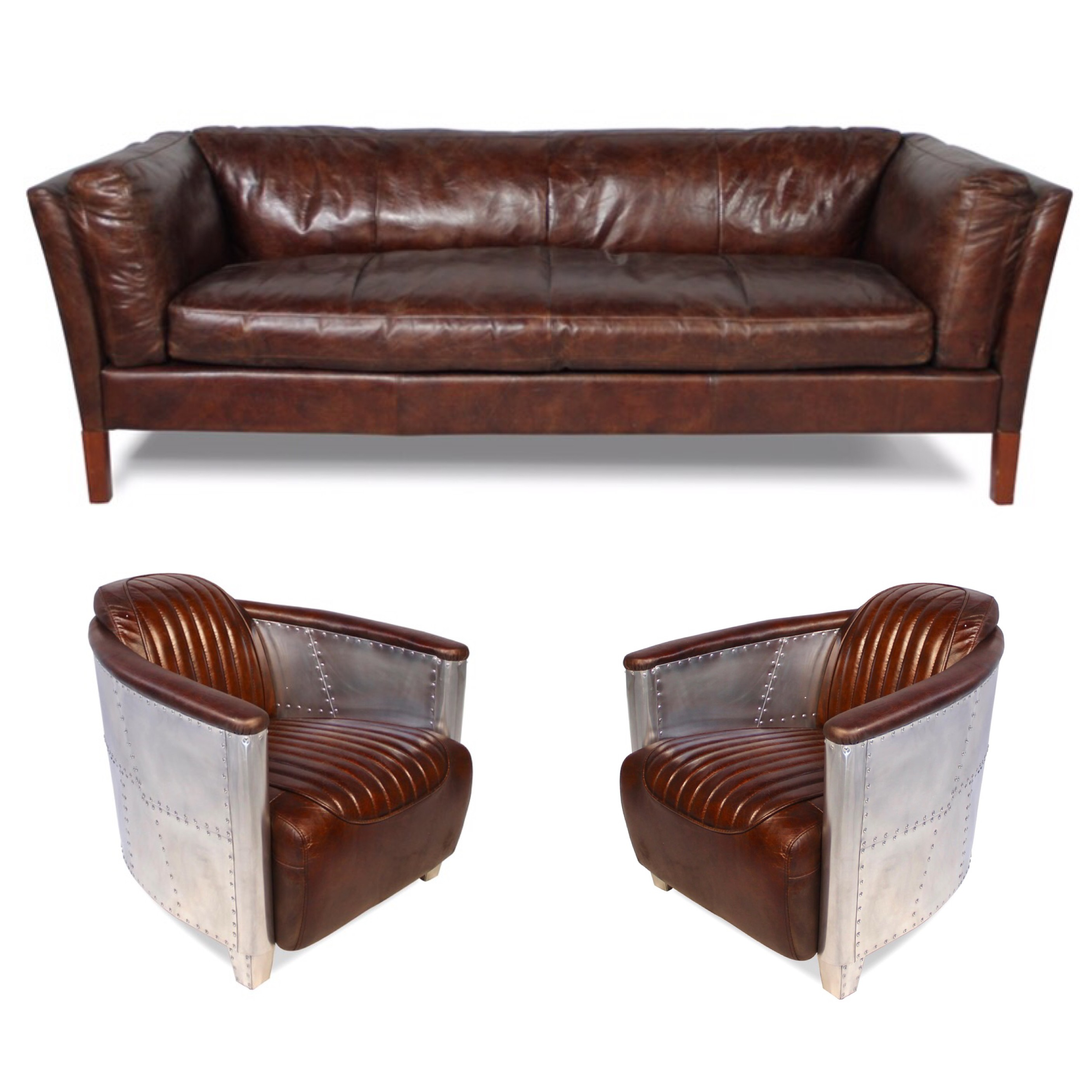 patina braun leder sofa mit zwei vintage braun leder