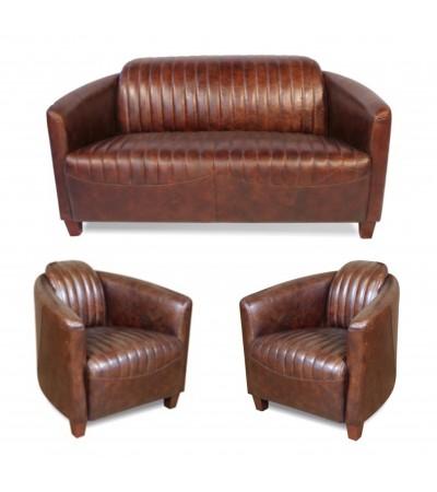 """Sofa """"Bryan"""" 2 Sitzer und 2 Club Sessel """"Bryan"""" in Braun Vintage Leder"""
