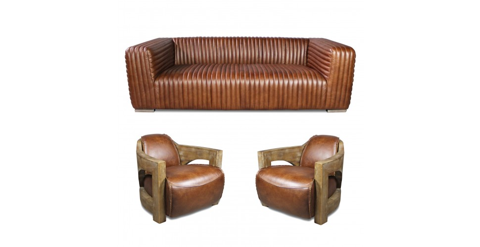 "Sofa ""Gary"" 3 Sitzer und 2 Club Sessel ""Malcolm"" in Braun Vintage Leder"