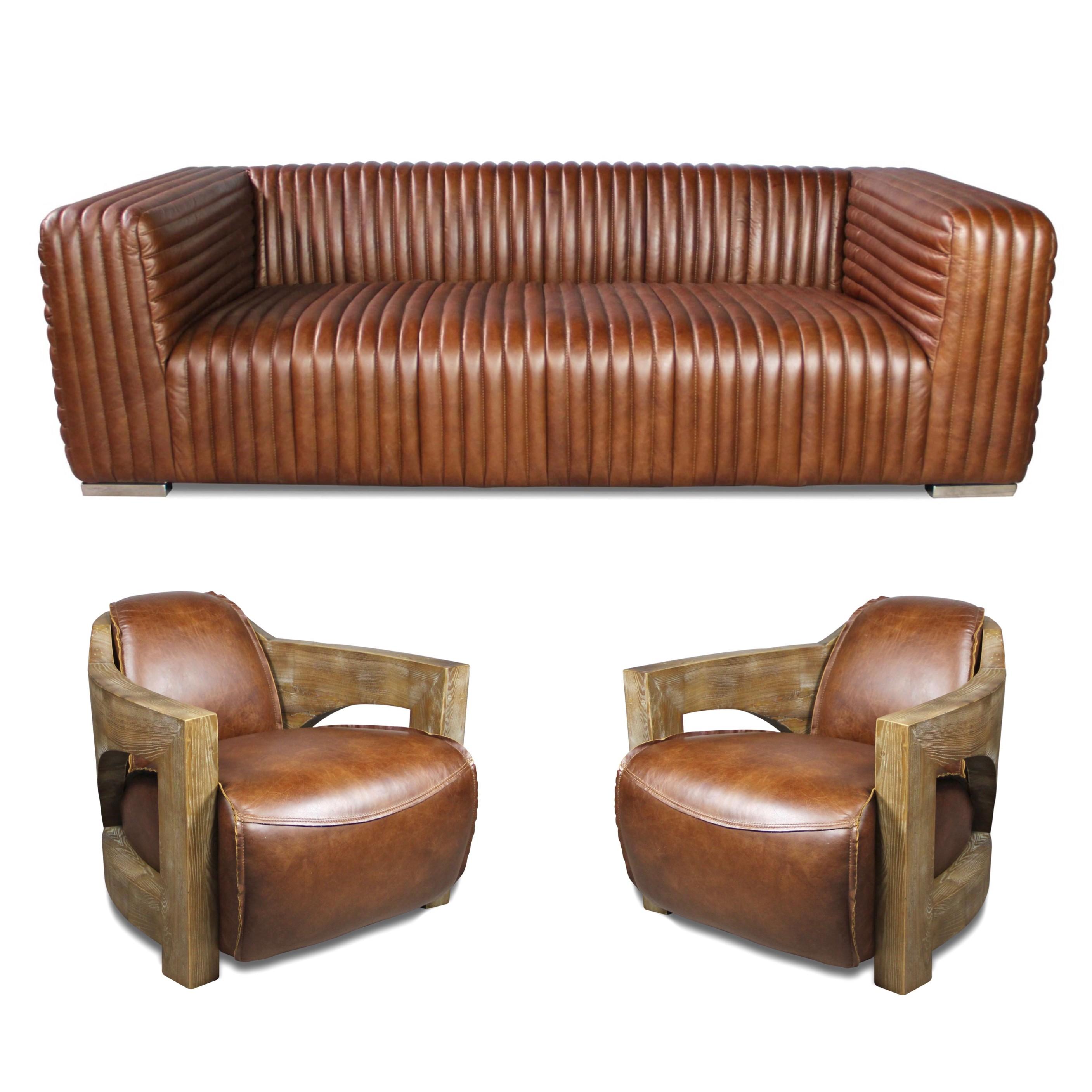 Canapé 3 places cuir marron clair vintage et 2 fauteuils ...