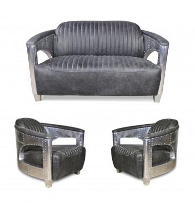 "Sofa 2 Sitzer und 2 Aviator Sessel ""Chuck"" in Graue Vintage Leder"