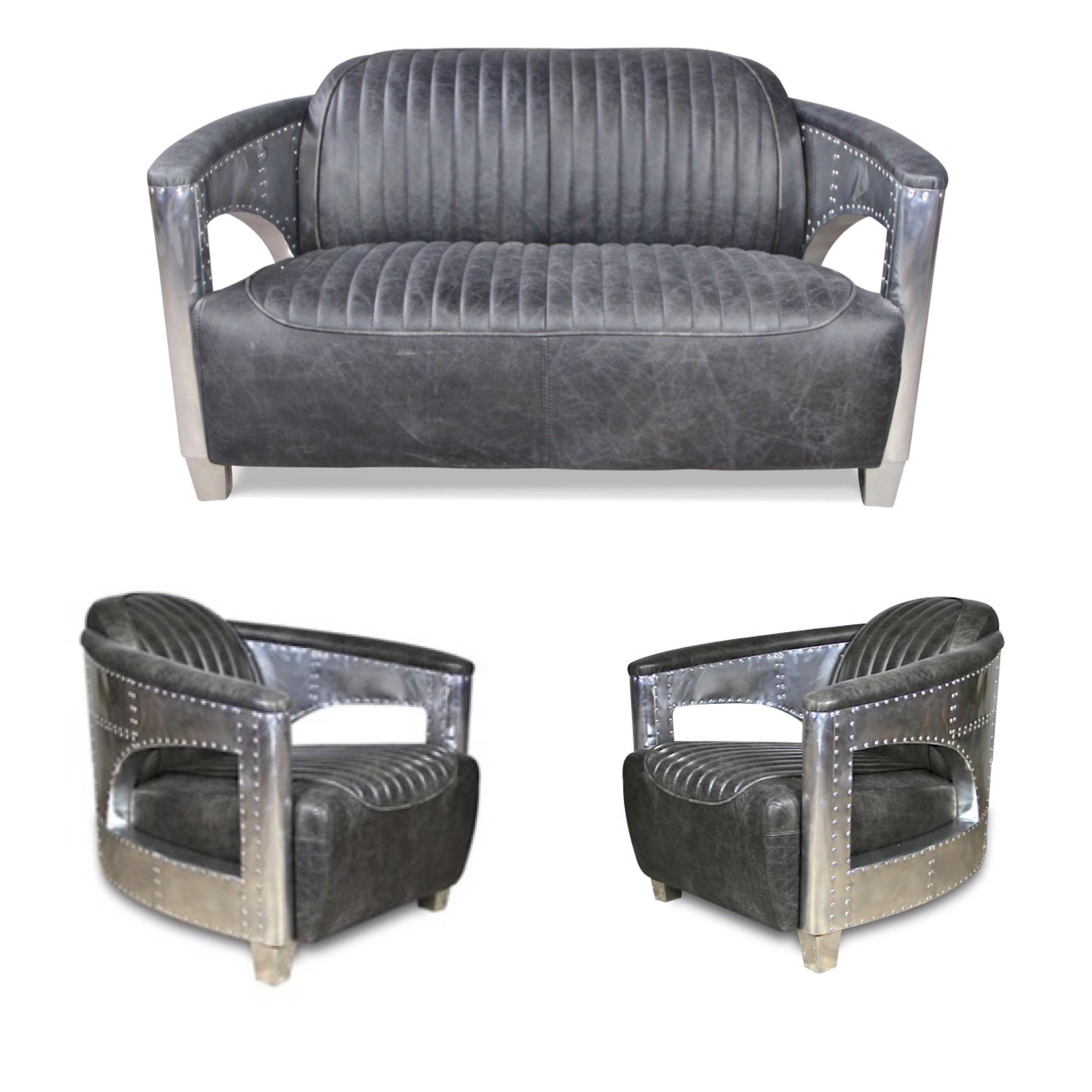 Sofa und zwei Sessel Aviator-Stil in Vintage Graue Volleder