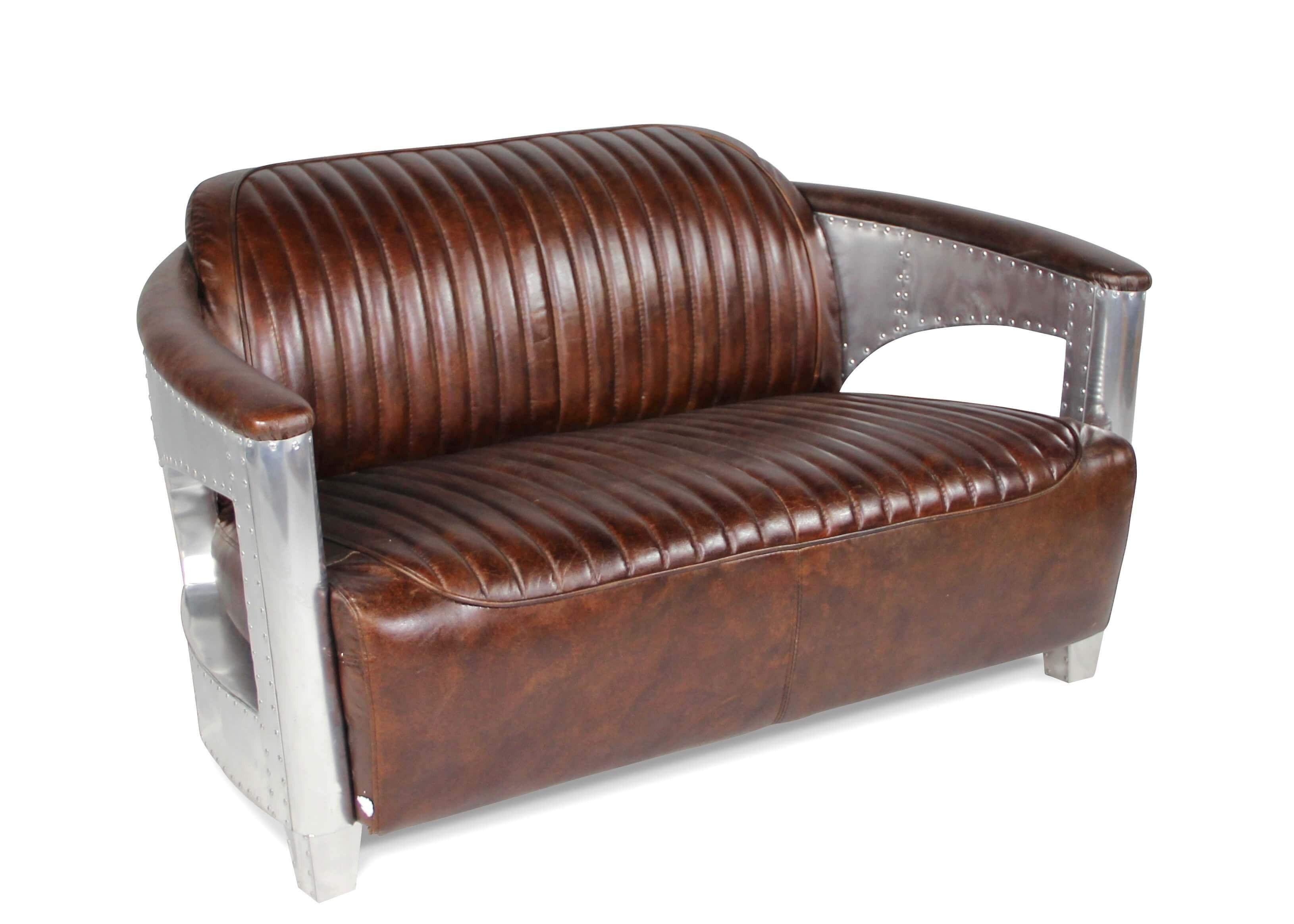canap et deux fauteuils style aviateur en cuir marron vintage vieilli. Black Bedroom Furniture Sets. Home Design Ideas