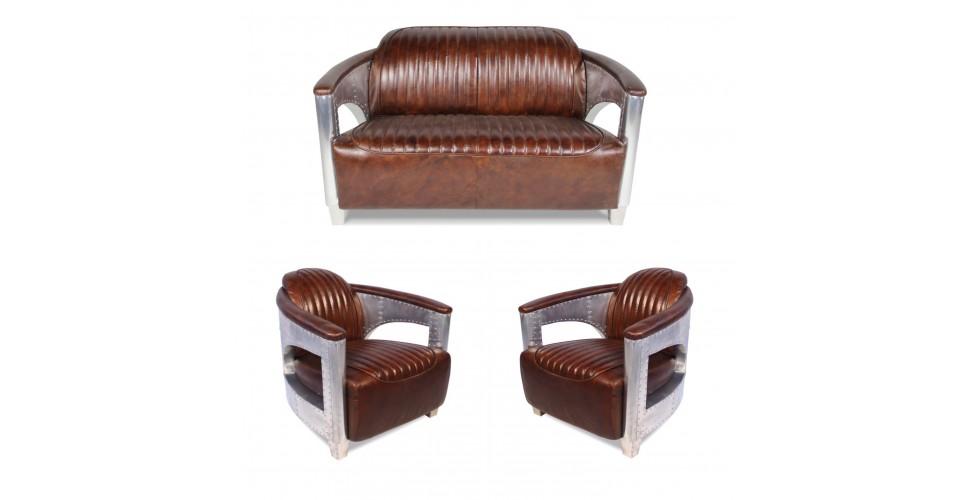 """Sofa 2 Sitzer und 2 Aviator Sessel """"Chuck"""" in Braun Vintage Leder"""