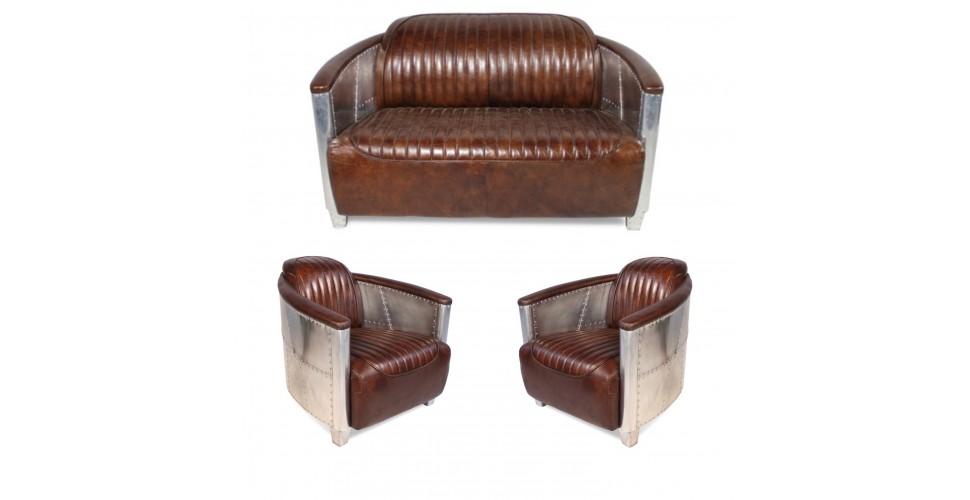 """Sofa 2 Sitzer und 2 Aviator Sessel """"Mermoz"""" in Braun Vintage Leder"""