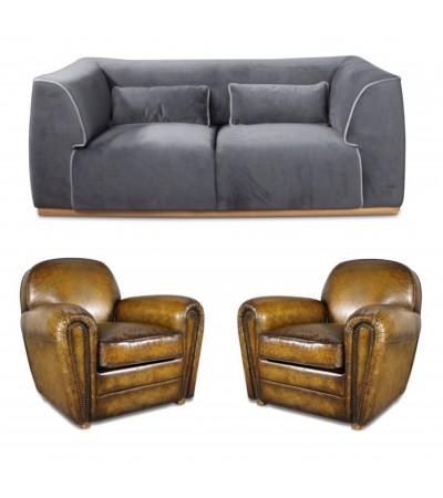 """Canapé tissu velours Gris """"Capri"""" + 2 fauteuils Club Cuir Marron Vintage """"Chaplin"""""""