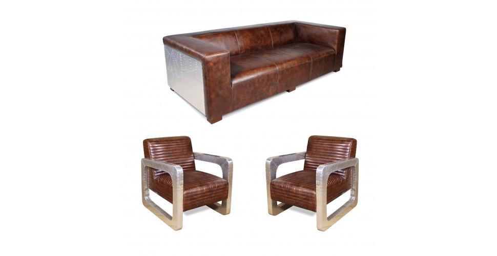 "Sofa Pilot ""Lawrence"" Braun Vintage Leder 3 Sitzer und 2 Aviator Sessel ""Mermoz"""