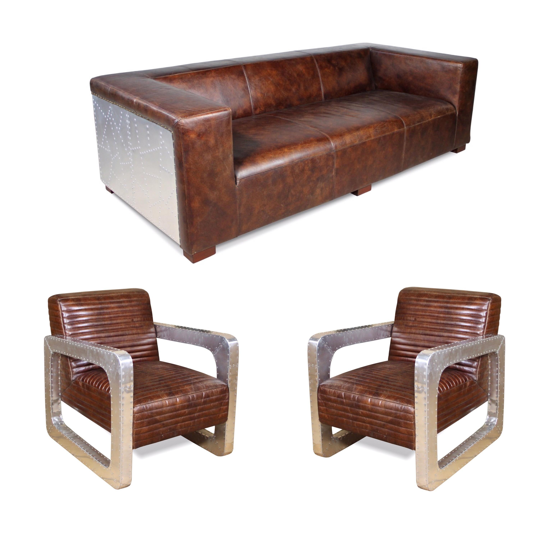 sofa und zwei sessel vintage aviator stil in braune patina. Black Bedroom Furniture Sets. Home Design Ideas