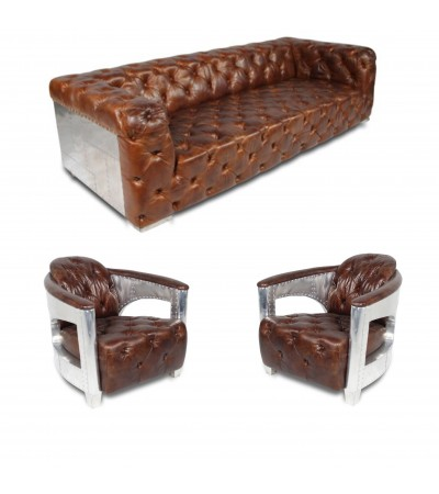 "Canapé Chesterfield ""The First"" + 2 fauteuils ""Jack"" cuir marron"