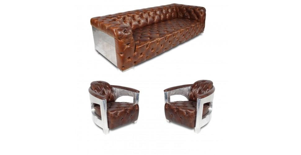 "Canapé Chesterfield ""The First"" + 2 fauteuils ""Jack"" cuir marron"